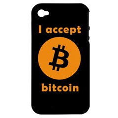 I Accept Bitcoin Apple Iphone 4/4s Hardshell Case (pc+silicone) by Valentinaart
