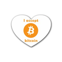 I Accept Bitcoin Rubber Coaster (heart)  by Valentinaart