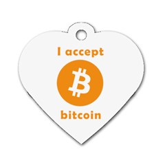 I Accept Bitcoin Dog Tag Heart (two Sides) by Valentinaart