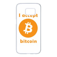 I Accept Bitcoin Samsung Galaxy S7 Edge White Seamless Case by Valentinaart