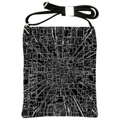 Black Abstract Structure Pattern Shoulder Sling Bags by BangZart