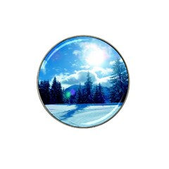 Ski Holidays Landscape Blue Hat Clip Ball Marker (4 Pack)