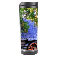 Landscape Blue Shed Scenery Wood Travel Tumbler by BangZart