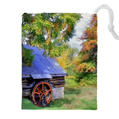Landscape Blue Shed Scenery Wood Drawstring Pouches (xxl)