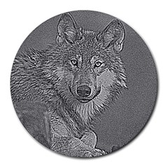 Wolf Forest Animals Round Mousepads by BangZart