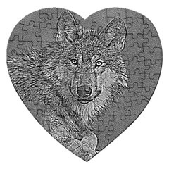 Wolf Forest Animals Jigsaw Puzzle (heart) by BangZart