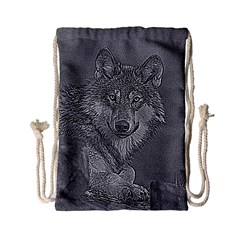Wolf Forest Animals Drawstring Bag (small) by BangZart