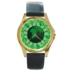 Earth Forest Forestry Lush Green Round Gold Metal Watch by BangZart