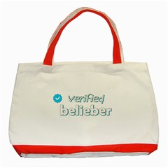 Verified Belieber Classic Tote Bag (red) by Valentinaart