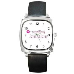 Verified Belieber Square Metal Watch by Valentinaart