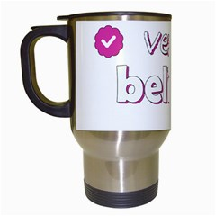 Verified Belieber Travel Mugs (white) by Valentinaart