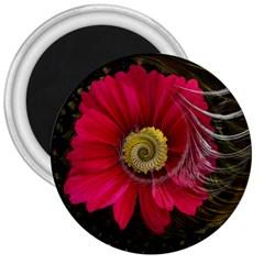 Fantasy Flower Fractal Blossom 3  Magnets by BangZart