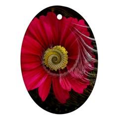 Fantasy Flower Fractal Blossom Ornament (oval)