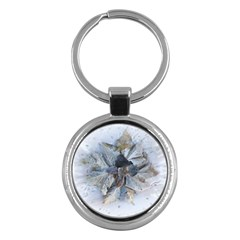 Winter Frost Ice Sheet Leaves Key Chains (round)  by BangZart