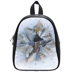 Winter Frost Ice Sheet Leaves School Bag (small) by BangZart
