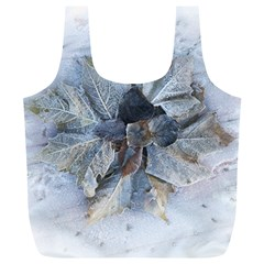 Winter Frost Ice Sheet Leaves Full Print Recycle Bags (l)