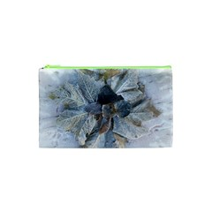 Winter Frost Ice Sheet Leaves Cosmetic Bag (xs) by BangZart