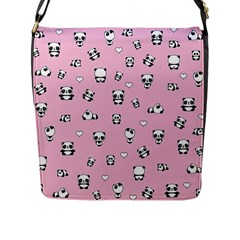 Panda Pattern Flap Messenger Bag (l)  by Valentinaart