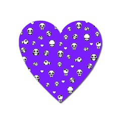 Panda Pattern Heart Magnet by Valentinaart