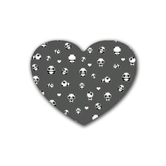 Panda Pattern Heart Coaster (4 Pack)  by Valentinaart