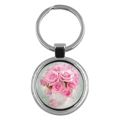 Pink Roses Key Chains (round)  by 8fugoso