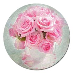 Pink Roses Magnet 5  (round) by 8fugoso