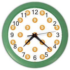 Bitcoin Logo Pattern Color Wall Clocks by dflcprints