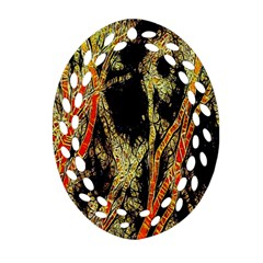 Artistic Effect Fractal Forest Background Oval Filigree Ornament (two Sides) by Amaryn4rt