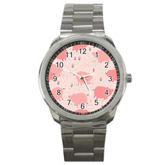 Pigs And Flowers Sport Metal Watch by allthingseveryday
