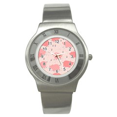 Pigs And Flowers Stainless Steel Watch by allthingseveryday