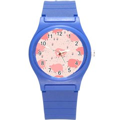 Pigs And Flowers Round Plastic Sport Watch (s) by allthingseveryday