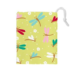 Colorful Dragonflies And White Flowers Pattern Drawstring Pouches (large)  by allthingseveryday