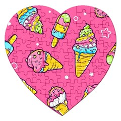 Summer Ice Creams Flavors Pattern Jigsaw Puzzle (heart) by allthingseveryday