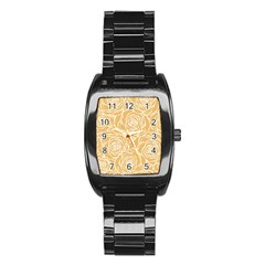 Yellow Peonines Stainless Steel Barrel Watch by 8fugoso