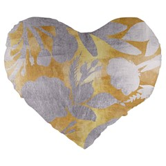 Gold Silver Large 19  Premium Flano Heart Shape Cushions by 8fugoso