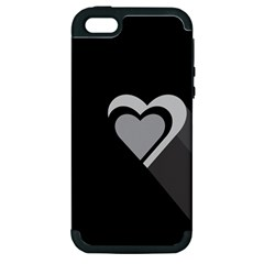 Heart Love Black And White Symbol Apple Iphone 5 Hardshell Case (pc+silicone) by Celenk