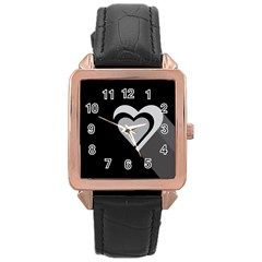 Heart Love Black And White Symbol Rose Gold Leather Watch  by Celenk