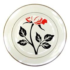 Flower Rose Contour Outlines Black Porcelain Plates by Celenk
