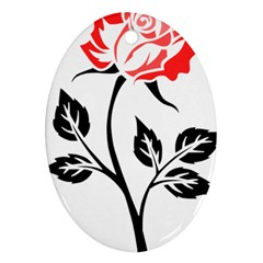 Flower Rose Contour Outlines Black Oval Ornament (two Sides) by Celenk