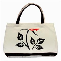 Flower Rose Contour Outlines Black Basic Tote Bag (two Sides) by Celenk