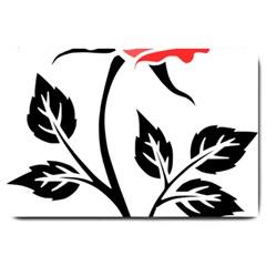 Flower Rose Contour Outlines Black Large Doormat  by Celenk
