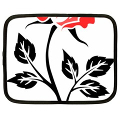 Flower Rose Contour Outlines Black Netbook Case (xxl)  by Celenk