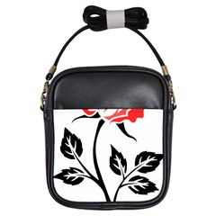 Flower Rose Contour Outlines Black Girls Sling Bags by Celenk
