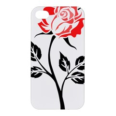 Flower Rose Contour Outlines Black Apple Iphone 4/4s Hardshell Case by Celenk