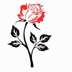 Flower Rose Contour Outlines Black Large Garden Flag (two Sides) by Celenk