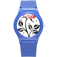 Flower Rose Contour Outlines Black Round Plastic Sport Watch (s) by Celenk