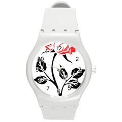 Flower Rose Contour Outlines Black Round Plastic Sport Watch (m) by Celenk