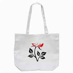 Flower Rose Contour Outlines Black Tote Bag (white) by Celenk