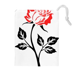 Flower Rose Contour Outlines Black Drawstring Pouches (extra Large) by Celenk
