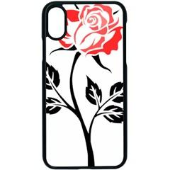 Flower Rose Contour Outlines Black Apple Iphone X Seamless Case (black) by Celenk